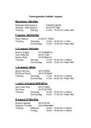 Trainingszeiten Winter 2012-2013