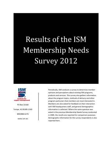 2012 Results of the ISM Membership Needs Survey - Institute for ...