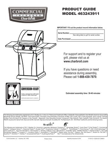 PRODUCT GUIDE MODEL 463243911 - Char-Broil Grills
