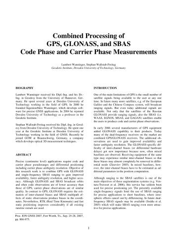 Code and carrier phase based short baseline gps positioning combined processing of gps glonass and sbas code phase altavistaventures Choice Image