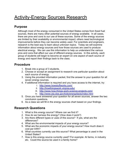 Energy Sources Research Activity Student Worksheet (pdf ...