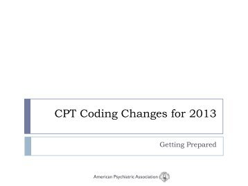 CPT Coding Changes for 2013