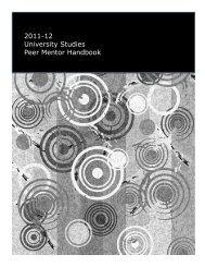 2011-12 University Studies Peer Mentor Handbook - Mentor Program