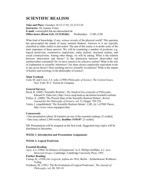 Research Proposal Essay Topics  High School Reflective Essay Examples also Examples Of Thesis Statements For Expository Essays Scientific Realism  Ioannis Votsis English Creative Writing Essays