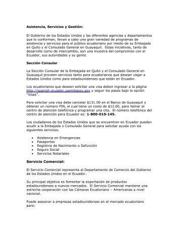 Servicio Comercial: - Embajada de los Estados Unidos Quito, Ecuador