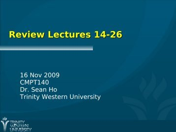 Review Lectures 14-26