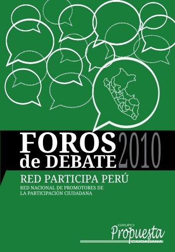 Foros de Debate 2010 - Grupo Propuesta Ciudadana