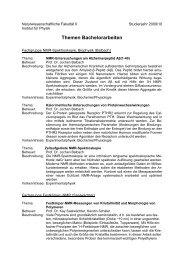 Themen Bachelorarbeiten - Naturwissenschaftliche Fakultät II ...