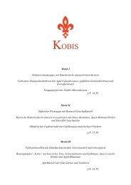 Menüvorschläge und Buffets - Kobis Restaurant