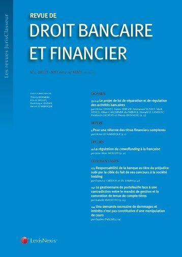 Revue de droit bancaire et financier - LexisNexis