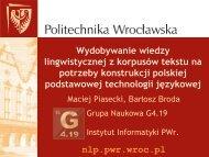 Wydobywanie wiedzy lingwistycznej z korpusów ... - CESAR project