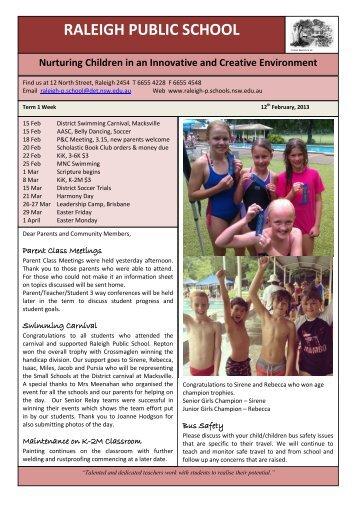 Newsletter 12 Feb 2013 - Raleigh Public School