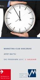 DAS PROGRAMM 2010 | 2. HALBJAHR - Marketing - Club Karlsruhe