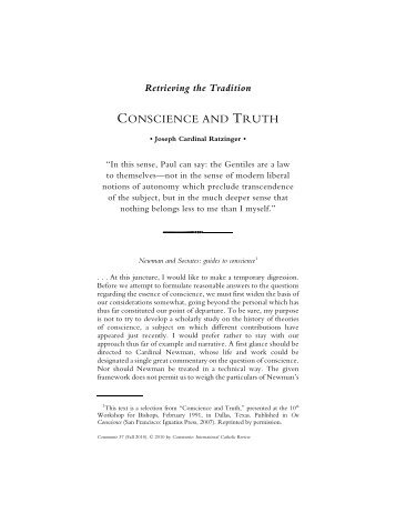 Joseph Ratzinger. Conscience and Truth. Communio 37 (2010)