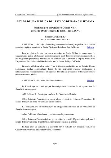 Ley de Deuda Pública del Estado de Baja California - Tijuana