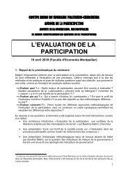 L'EVALUATION DE LA PARTICIPATION - INRA Montpellier