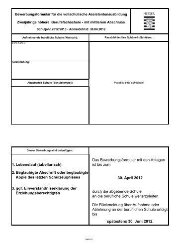 Anmeldeformular - Werner von Siemens Schule