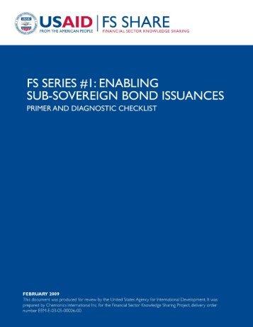 FS Series #1: Enabling Sub-Sovereign Bond Issuances - Economic ...