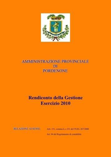 Anno 2010 - Provincia di Pordenone