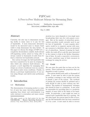 A Peer-to-Peer Multicast Scheme for Streaming Data - Stanford ...