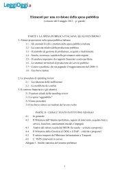 Elementi per una revisione della spesa pubblica - LeggiOggi