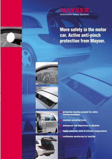 More safety in the motor car. Active anti-pinch protection from Mayser.