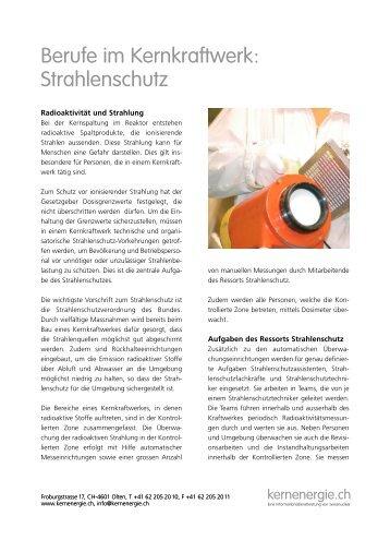 Berufe im Kernkraftwerk: Strahlenschutz - Kernenergie.ch