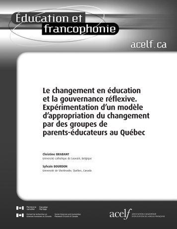 Le changement en éducation et la gouvernance réflexive ... - acelf