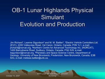 OB-1 Lunar Highlands Physical Simulant Evolution ... - ISRU - NASA