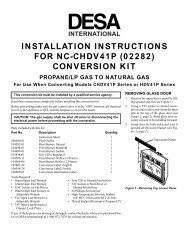 installation instructions for nc-chdv41p (02282) conversion kit - Desa
