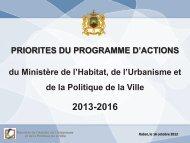 PRIORITES DU PROGRAMME D'ACTIONS du Ministère de l'Habitat ...