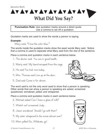 Students will learn to use quotation marks ... - Schoodoodle.com