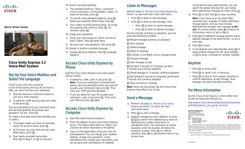 Cisco Unity Express 3 2 Voice-Mail System Quick Start Guide