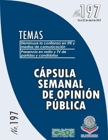 Capsula Semanal de Opinión Pública No. 197 - Cámara de Diputados