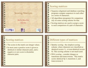 Scoring Matrices Scoring matrices Scoring matrices Different types ...