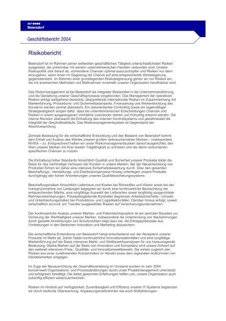 Risikobericht - Beiersdorf