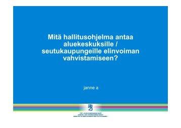 Mitä hallitusohjelma antaa aluekeskuksille ... - Kunnat.net