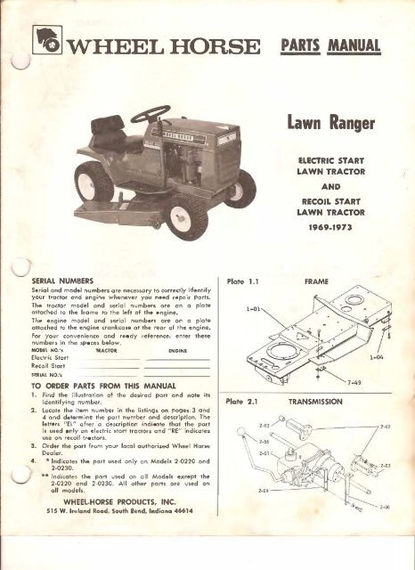 wheelhorse - The Wheel Horse Tractor Manual and