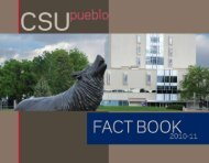 CSU-Pueblo 2011 Fact Book - Colorado State University-Pueblo