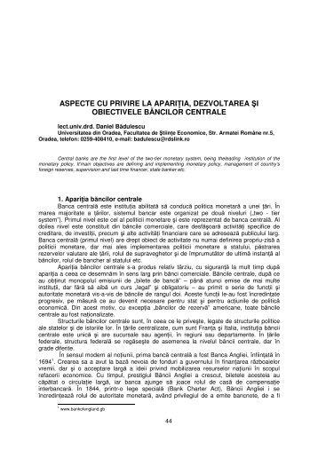 ASPECTE CU PRIVIRE LA APARIłIA, DEZVOLTAREA ŞI ...