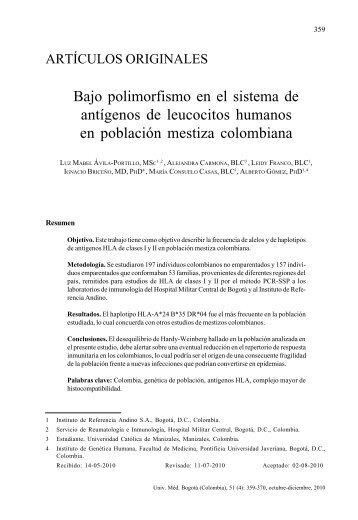 Bajo polimorfismo en el sistema de antígenos de leucocitos ...