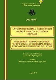Promocijas darba kopsavilkums: Latvijas reģionālo augstskolu ...
