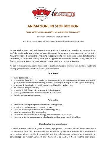 ANIMAZIONE IN STOP MOTION - WOW Spazio Fumetto