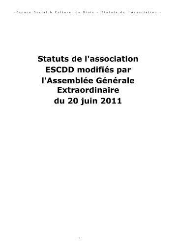 Les statuts (6 juillet 2011) - ESCDD