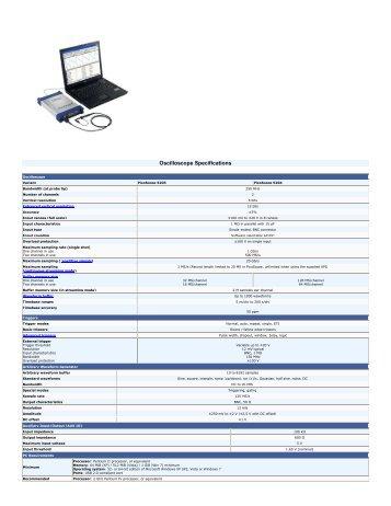 Oscilloscope Specifications - Tagor Instrumenti