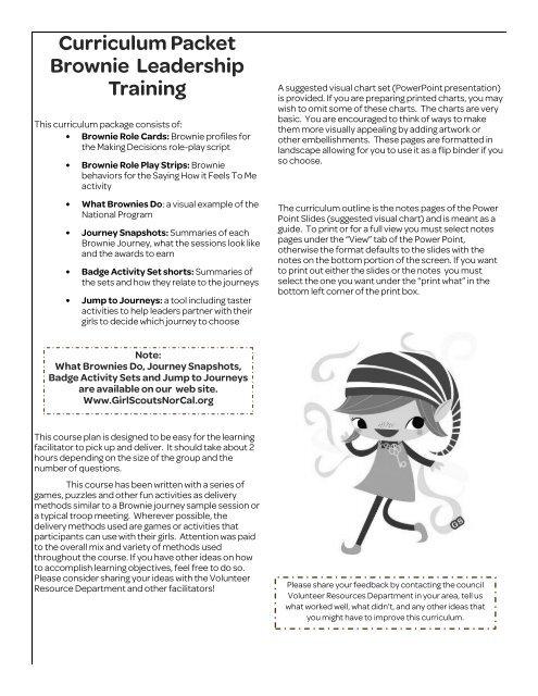 Curriculum Packet Brownie Leadership Training