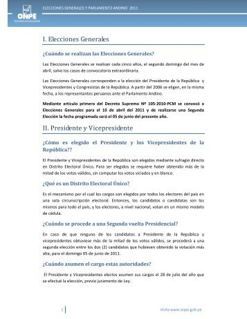 I. Elecciones Generales II. Presidente y Vicepresidente - ONPE