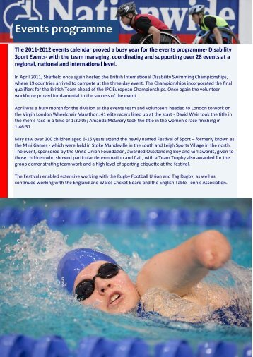 Events programme - English Federation of Disability Sport