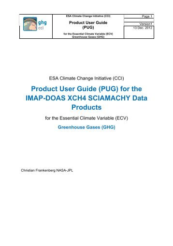 Product User Guide (PUG) for the IMAP-DOAS XCH4 ... - GHG-CCI