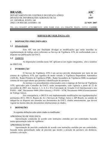 BRASIL - Tarifas de Navegação Aérea - DECEA